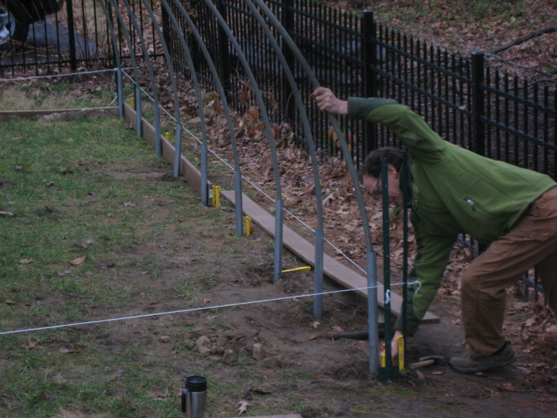 Don building base for hoop house